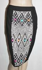 ASOS Designer Black Embroidered Insert Fitted Skirt Size 8/XS BNWT #SQ82