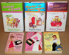 6 BOOKS BY ELAINE VIETS CLUBBED TO DEATH MURDER UNLEASHED DEATH ON A PLATTER