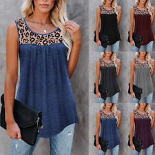 Women Casual Sleeveless Crew Neck Leopard T Shirt Loose Blouse Tunic Tank Tops