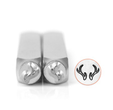 SET OF 2 Metal stamp, punch, Antlers, set of two stamps 6mm Jewellery stamping