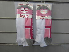 LADIES TRAINER SOCKS ENGLAND LOGO ON FOOT MULTI COLOURS GREY AND PINKS 41B148