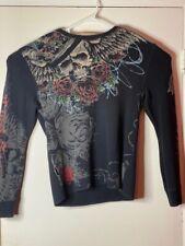 Marc Ecko Mens T-Shirt Multicolor 100% Cotton Long Sleeve Skull Roses Tattoo L