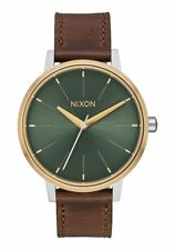 **BRAND NEW** NIXON THE KENSINGTON LEATHER SILVER GOLD AGAVE A1082877 NEW IN BOX