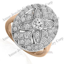 Diamond Ring Russian Style Jewelry #R1957. 18k Solid Rose & White Go 00006000 ld Genuine