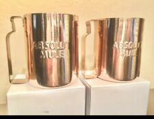 New! Absolut Vodka Moscow Mule Set of Two Copper Clad Mugs 12 oz Cups 2. ~