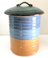 "Studio Art Pottery Canister w/ Lid Blue Tan Brown 8""H 5""W Hand Thrown Signed EUC"