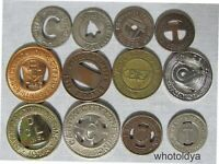 12 Mixed Cities Transit Tokens Great For Jewelry Making SEE PICTURE  whotoldya