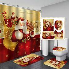 3D Christmas Shower Curtain Floor Mat Toilet Lid Cover Bathroom Rugs Mat Set #7