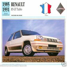 RENAULT R5 GT TURBO 1985 1991 CAR VOITURE FRANCE CARTE CARD FICHE