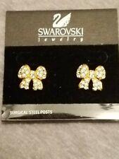 Swarovski Crystal Bow Earrings New on Card