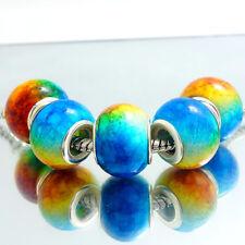 5PCS Silver Spacer European Charm Beads Fit Necklace Bracelet wholesale #76