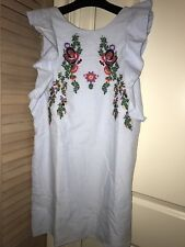 Zara embroidered dress with frill-sky blue-Size L-NWT