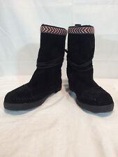 TOMS WOMENS BLACK SUEDE TRIM NEPAL TRIBAL MOCCASIN BOOTS FLEECE SZ 5.5 NEW $98