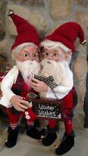 "Set 2 NWT 20"" Santa's Elves ELF Red White Plaid Christmas Figure Display Prop"