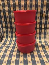 TUPPERWARE BASIC BRIGHT MEDIUM ROUND CONTAINERS 2-1/4 Cup Set of Four 4 Pink