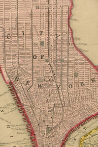 1860 Plan Of New York-Hand Painted Mitchell Map-Pre Civil War Manhattan-Brooklyn