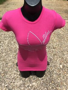 NEW Women's Adidas Originals Trefoil Script Hot Pink Grey White T - Shirt Tee