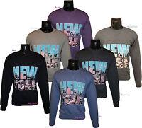 Men's New York Printed Crew Neck Brushed Fleece Tops Sweatshirts Jumpers S-XL