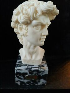 MICHELANGELO David Marble Bust Signed Statue A. Giannelli Sculpture