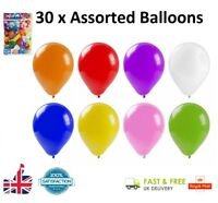30 x Coloured Latex ASSORTED Balloons Party Balloon Bag Filler Gift Toy UK