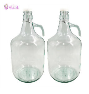 Free Postage 2 X 5L Demijohns Glass Jar for Water/Wine/Spirits Storage Hook Hand