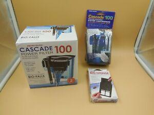 CASCADE 100 AQUARIUM POWER FILTER WITH EXTRA CARTRIDGE & BIO SPONGE 100 GPH