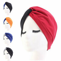 New Women Soft Cap Turban Fashion Patchwork Chemo Cap Headwear Casual Indian Hat