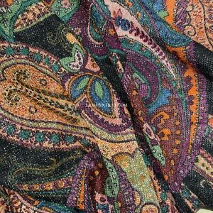 PAISLEY African Abstract Printed Glitter Lycra Jersey Dress Fabric 150 cm Wide