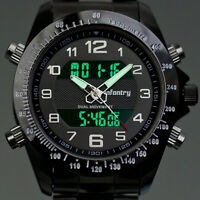 Infantry Mens Digital Analog Watch Sport Stainless Steel Wrist Luminous Date