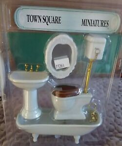 Miniature Dollhouse Accessories  Ceremic 4 piece white Bathroom set 1/12th scale