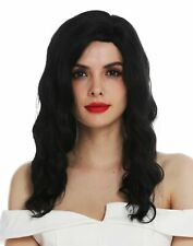 Wig Women's Wig Long Parting Noble Wavy Black Hollywood Diva