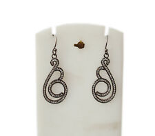 Now Trend - Fashion Jewellery - Black Silver Plated White CZ Stone Hook Earing