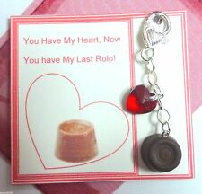 """My last Rolo"" Bag Charm Red Heart & Rolo Charm Bead +Gift Tag Christmas Gift"
