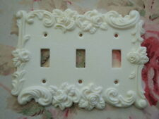 Shabby & Chic Roses & Flourish Three Toggle Wall Plate French Country Vintage