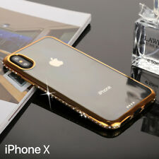 iPhone X Coque Bordure Diamant TPU Transparent Étui de Protection Arrière