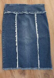 Bay Stretch Knee Length Denim Skirt Size 10