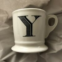 "Anthropologie Monogram Mug ~ ""Y"" ~ 14 oz ~ White/Off White ~ Initial ~ Pedestal"