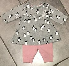 My K...Mothercare Baby Girls Dress Outfit 0-3 Months (new baby) Vgc penguins