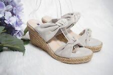 STUART WEITZMAN Sarina Suede Espadrille Platform Wedge Bow Sandals Gray US 8