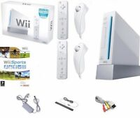 White Nintendo Wii Console BOXED inc 2 Remotes & 2 Nunchucks + Wii Sports Game