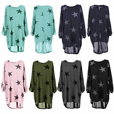 Womens Batwing Star Print Lagenlook Blouse Knit Baggy Tunic Tops Dress Plus Size