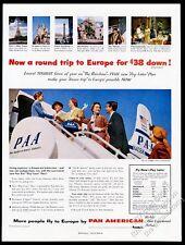 1954 Pan Am airlines stewardess DC-6 Super 6 plane photo vintage print ad