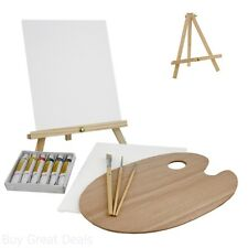 US Art Supply 13 Piece Oil Painting Set With Mini Table Easel Wood