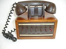 Vintage Dictograph Office Telephone, 7 Button, Oak Case
