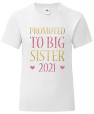 Gold Pink Glitter Big Sister Girls T-Shirt - Printed Pregnancy Reveal Party 2021