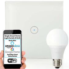WiFi Light Switch & Bulb–1x 10W E27 Cool White Lamp & Single Wireless Wall Plate