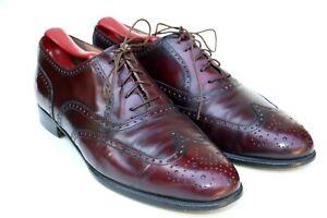 Salvatore Ferragamo Burgundy Oxblood Leather Wingtip Dress Shoe SZ 7E