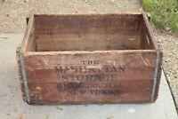 HUGE Antique Wood Box Crate The Manhattan Storage & Warehouse Co. New York