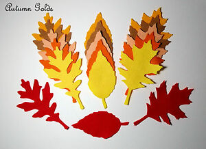 18 Die Cut Felt Leaves Autumn Shades Red Orange Brown Appliques Toppers Craft