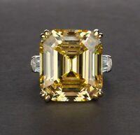 14K White & Yellow Gold Over Emerald Cut Citrine & Diamond Ring Wedding Ring